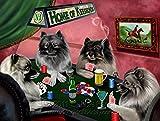 Home of Keeshond 4 Dogs Playing Poker Art Portrait Print Woven Throw Sherpa Plush Fleece Blanket (37x57 Sherpa)