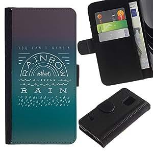 KLONGSHOP / Tirón de la caja Cartera de cuero con ranuras para tarjetas - Rainbow Rain Positive Attitude Quote Life - Samsung Galaxy S5 V SM-G900