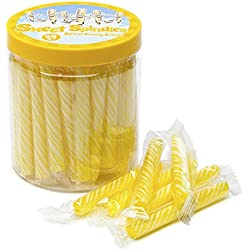 Sweet Spindles Mini Hard Candy Sticks - 50-Piece Jar (Yellow)