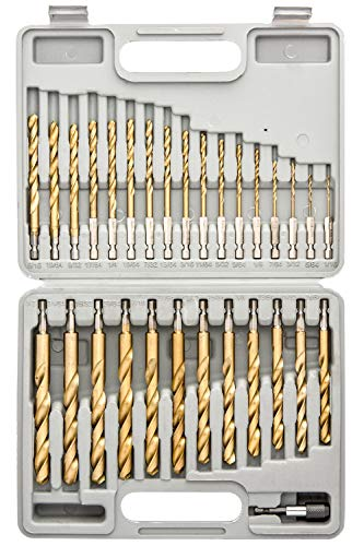 Tooluxe 10055L Titanium Coated Hex Shank Drill Bit Set, 30 Piece | Quick Change Design | 1/16