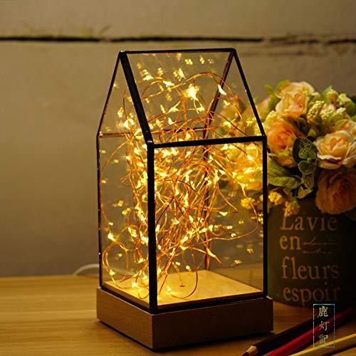 Amazon.com: WETRR Lámpara de mesa LED, creativa madera ...