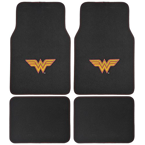 BDK DC Comics Wonder Woman Car Floor Mats - 4 Piece Set - Gold/Red W Logo