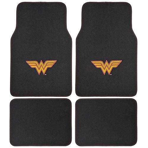 Logo Black Car Mat - DC Comics Wonder Woman Car Floor Mats - 4 Piece Set - Gold/Red W Logo