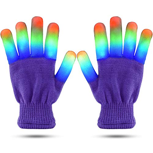 LED Finger Light Gloves Cool Fun Toys, Flashing Light Up Kids Size Large Pink Gloves - 6 Modes Super Bright LEDs Blue, Green and Red
