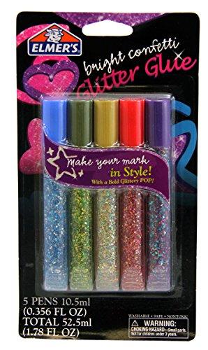 (Elmer's Washable Glitter Glue Pens, Pack of 5 Pens, Bright Confetti Glitter Colors (E653))
