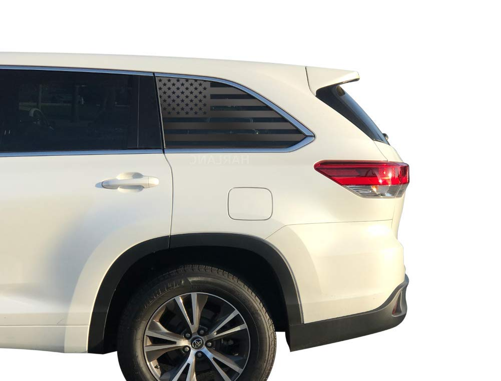 USA American Flag Decals in Matte Black for Crew Cab windows Toyota Highlander QS6.A Fits 3rd Generation 2014-2019