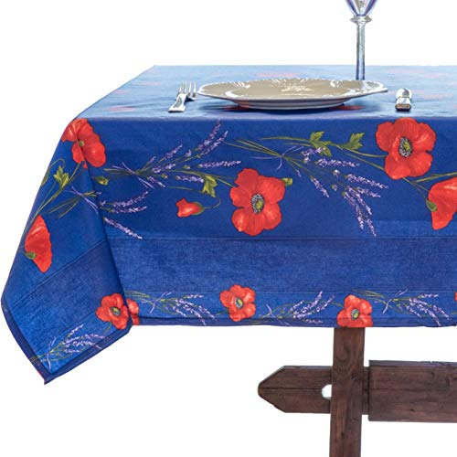 Amelie Michel Wipe-Clean French Tablecloth in Blue Poppies | Authentic French Acrylic-Coated 100% Cotton Fabric | Easy Care, Spill Proof [60