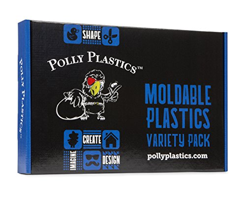 Polly Plastics Moldable Plastic Variety Pack - Moldable Pellets, Sheets, Strips and Colors