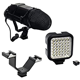 Opteka VM-200 Stereo Microphone & VL-5 LED Light with Dual Shoe Mount Combo Kit for Digital SLR Cameras & Camcorders