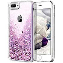 iPhone 7 Plus Case,SAMONPOW Shiny Liquid Floating Luxury Bling Peach Heart Glitter Sparkle iPhone 7 Plus Crystal Clear Protective Case with Soft TPU Bumper for iPhone 7/8 Plus