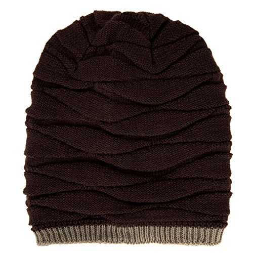 Aerusi Wave Textured Relaxed Fit Men's Coffee Brown Reversible Beanie