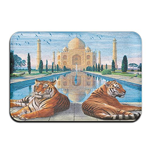 Homlife Rectangle Thin Doormats Beautiful Taj Mahal Illustration Entrance Mat Non-slip Indoor Outdoor Area Rug Bathroom Mats Coral Fleece Home ()