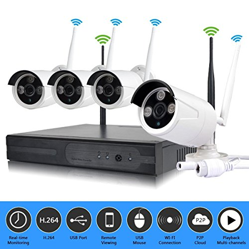 Borntechsz 4ch WiFi dvr kit 1.3mp Outdoor 4Channels Wireless WiFi NVR Suit Kit HD IR 960P WiFi IP Camera P2P CCTV Security System For Sale