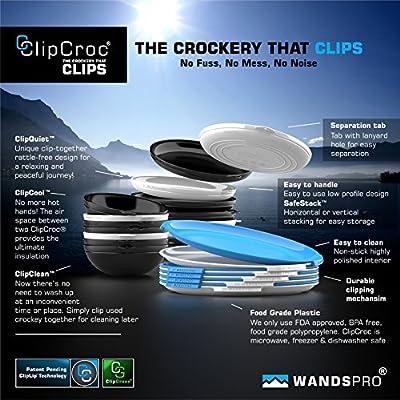 WandsPro - ClipCroc Bowl Set - 'Clip-Together' Bowls (pack of 4) – Perfect for BBQs, Camping, Caravans and picnics