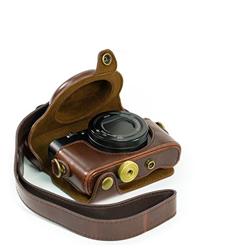 MegaGear Ever Ready Protective Brown Leather Camera Case , Bag for Sony DSC-RX100 RX100 (NOT FOR RX100 M2)