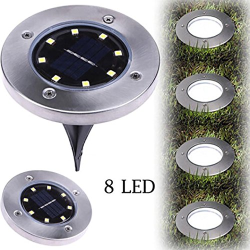 Hometom 8LED Solar Power Ground Light Buried Lamp Lights Outdoor Path Garden Decking Landscape Lighting (White) (Designs Patio Decking And)