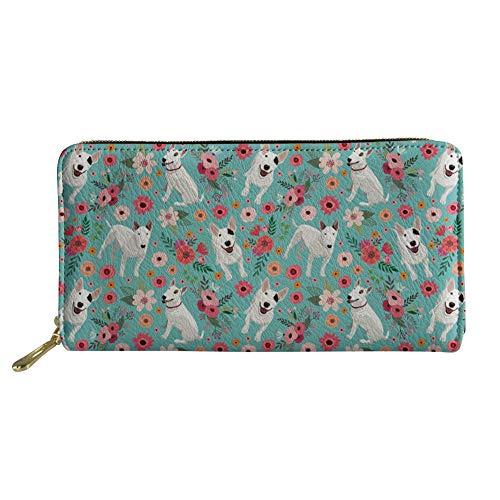 Terrier Wallet - Women Leather Wallet Cute Bull Terrier Dog Floral Print Clutch Purse Card Holder Travel Passport Wallet