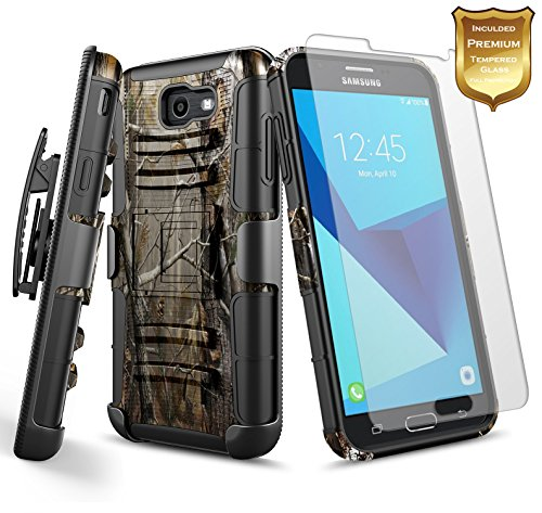 Galaxy J7 Prime Case, J7 V (Verizon) / J7 Perx / J7 2017 (J727) w/[Tempered Glass Screen Protector], NageBee Belt Clip Holster Heavy Duty Armor Shockproof Kickstand Rugged Combo Durable Case -Camo