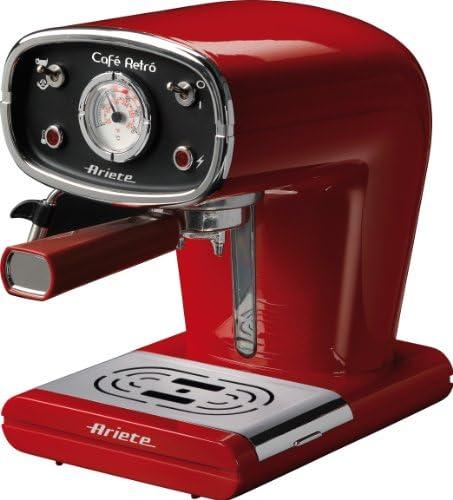 Ariete 1388 Café Retrò – Macchina per caffè espresso in polvere e cialda ESE, 15 bar, 850W, Dispositivo Maxi-Cappuccino, 1L, Rosso