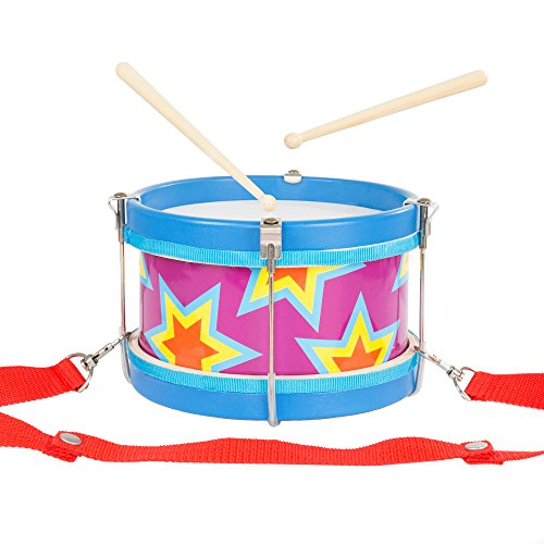 Hey! Play! Childrens Toy Snare Marching Drum, Double-Sided with Adjustable Neck Strap & Two Wood Drum Sticks- Music Fun