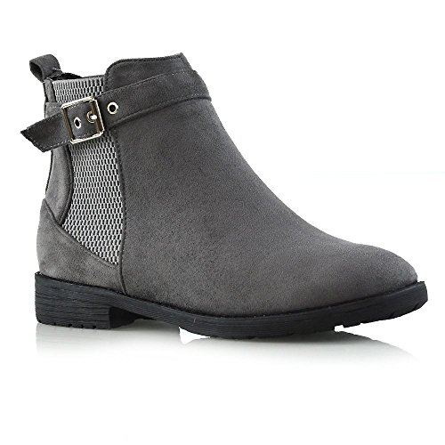 ESSEX GLAM Womens Chelsea Low Block Heel Ladies Buckle Zip Elasticated Ankle Boots Shoes Grey Faux Suede