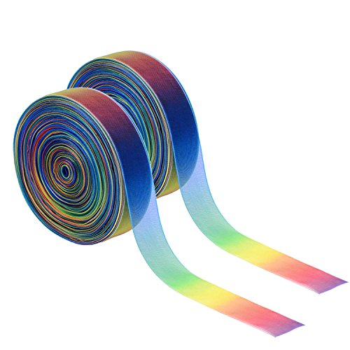 (Shappy 1 Inch Shimmer Sheer Organza Ribbon, Rainbow Colors (100 Yard))