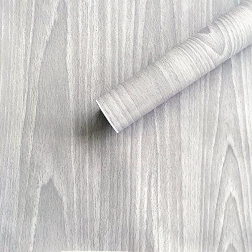 SimpleLife4U Light Gray Wood Grain Contact Paper Self Adhesi
