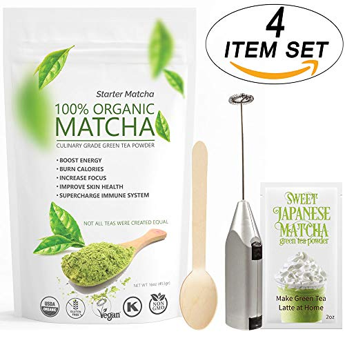 (Starter Matcha 12oz (4 items set) - USDA Organic, Non-GMO Certified, Vegan and Gluten-Free | Pure Matcha Green Tea Powder + Wooden Spoon + Electric Frother + 2oz Sample of Sweet Japanese Matcha)