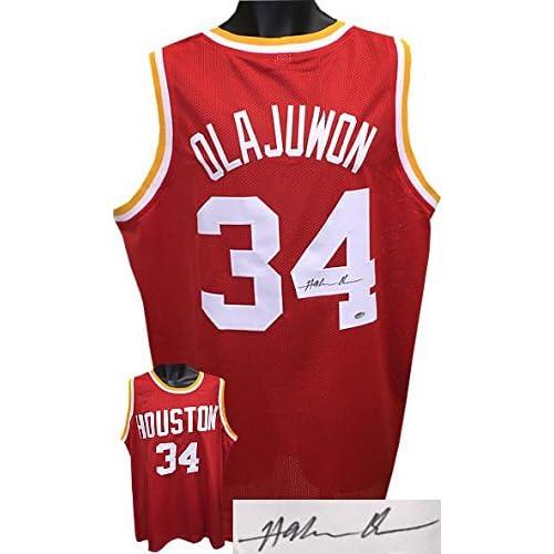 6670aaf35 Hakeem Olajuwon Autographed Jersey - Red TB Custom Stitched XL Hologram -  JSA Certified - Autographed