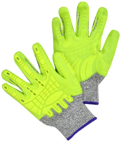 Resistant Glove Seamless Cut (Carhartt Men's Impact Cut, High Visibility Yellow, Large)