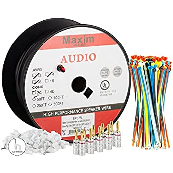Amazon jsc wire 14 awg 100 feet direct burial speaker and maximm outdoor speaker wire 50 feet 12awg cl3 rated 2 conductor wire black pure copper banana plugs cable clips and ties included keyboard keysfo Gallery