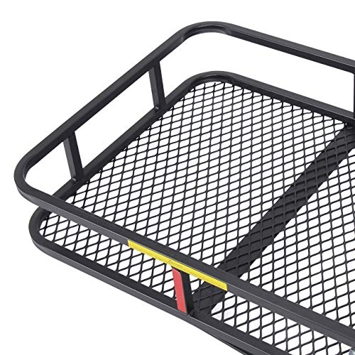 ARKSEN Folding Cargo Carrier Luggage Basket 2 Receiver Hitch (60 x 25 inch) Camp Travel Fold Up SUV Camping, Black