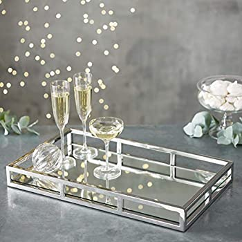 Le'raze Mirrored Vanity Tray, Decorative Tray with Chrome Rails for Display, Perfume, Vanity, Dresser and Bathroom, Elegant mirror tray Makes A Great Bling Gift -16X10 Inch