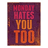 inspiring small kitchen island design Polyester Rectangular Tablecloth,Abstract,Grunge Vintage Design with Monday Hates You Too Inspiring Quote Art Print,Purple and Orange,Dining Room Kitchen Picnic Table Cloth Cover,for Outdoor Indoor