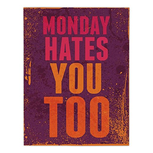 Polyester Rectangular Tablecloth,Abstract,Grunge Vintage Design with Monday Hates You Too Inspiring Quote Art Print,Purple and Orange,Dining Room Kitchen Picnic Table Cloth Cover,for Outdoor Indoor