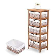 HOMCOM Standing Storage Unit Kitchen Shelf Home Organizer Furniture with 5 Woven Rattan Basket Drawer