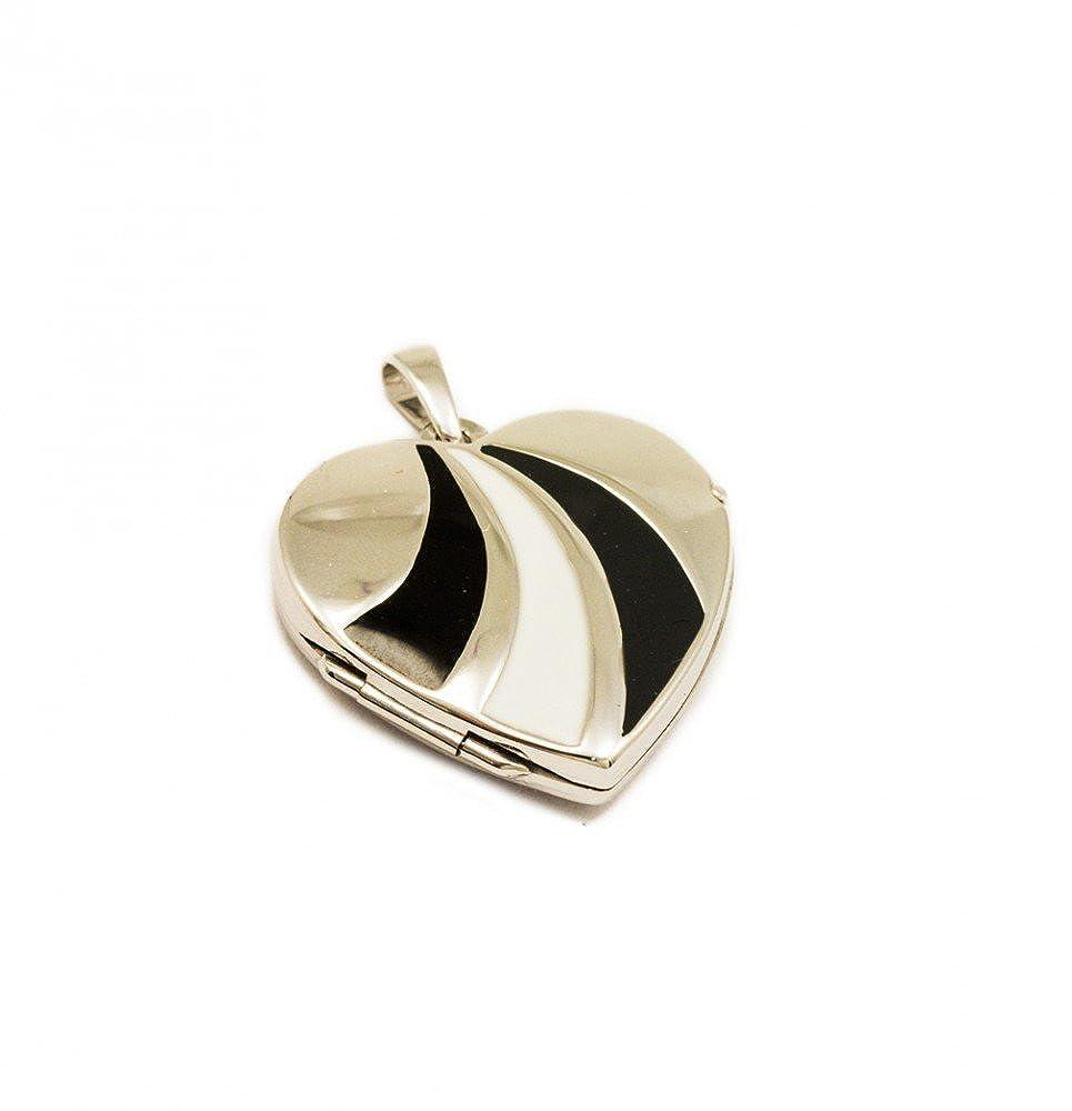 ASS avec médaillon en argent 925 pendentif cœur photo laqué blanc/gris foncé/noir Alex-Super-Schmuck.de CDC0911710101