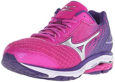 Mizuno Women's Wave Rider 19 Running Shoe, Fuchsia Purple/Silver, 6 2A US