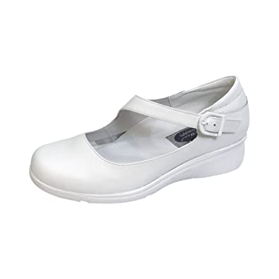42d0f491150a 24 Hour Comfort Michele Women Extra Wide Width Diagonal Buckle Loafer Shoes  White 5