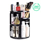 Makeup Organizer,360 Degree Rotating and Adjustable Multi-Function Vanity Cosmetic Storage Box, Extra Large Capacity, Space Saving, Fits Toner, Creams, Makeup Brushes, Lipsticks and More (Black)