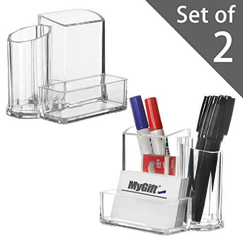 Card Caddie (Modern Compact Clear 3 Compartment Office Supplies Desktop Organizer Caddy, Pencil Holder - Set of 2)