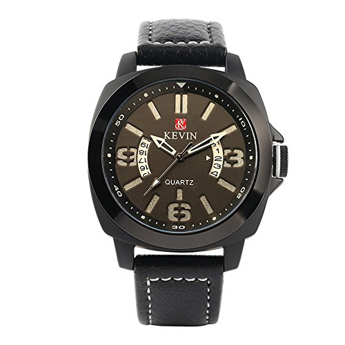 Business Male Wristwatch with Leatherette Strap, Men Big Number Display Watches ()