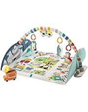 Fisher-Price Activity City Gym to Jumbo Playmat, infant to toddler activity gym with music, lights, vehicle toys and extra-large playmat