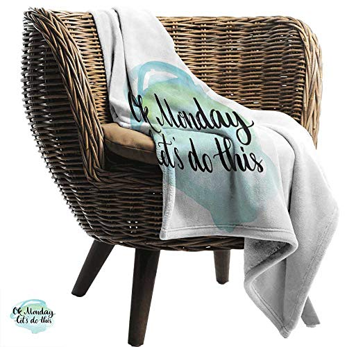 BelleAckerman Flannel Throw Blanket,Motivational,OK Monday Lets Do This Positive Fun Saying for The Start of The Week,Aqua Green Black,for Bed & Couch Sofa Easy Care -