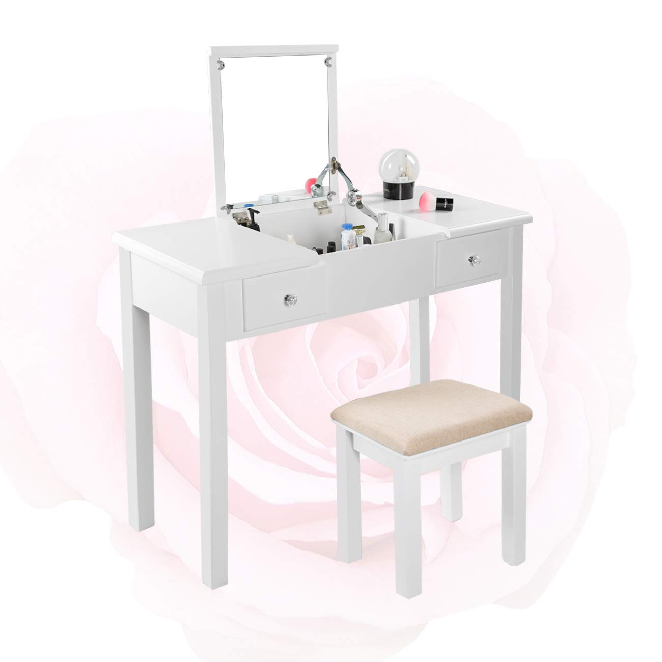Vanity Beauty Station with Cushioned Beauty Stool Set, 3 Removable Organizers,W35.43 x D15.75 x H30.31 (White)