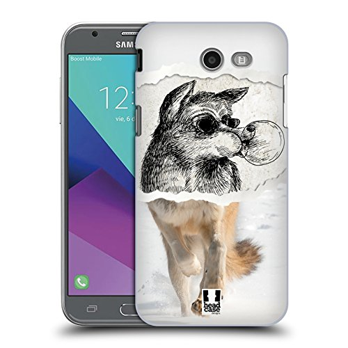 Case+Film Ultra-thin Snap on Fits Samsung Galaxy J3 Luna Pro/J327P J3 2017 /Amp Prime 2/J3 Emerge/Express Prime 2 /Sol 2/J3 Prime Hard Back Cover Wolf from Desert -