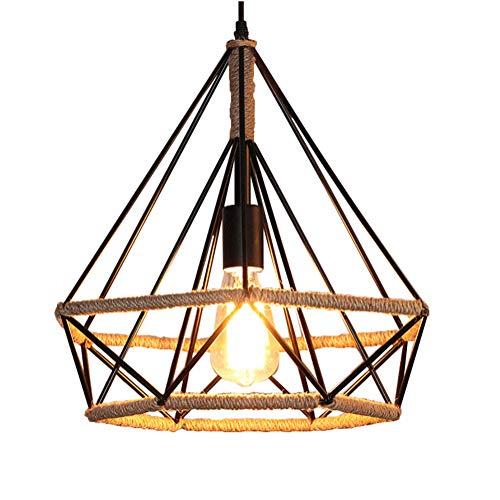 Diamond Single Light - Industrial Chandelier Single Pendant Light Iron Cage Pendant Light for Bar,Restaurant,Bedroom,Cafe