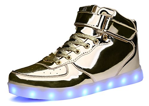 MOHEM ShinyNight High Top LED Shoes Light Up USB Charging Flashing Sneakers(1687003ShiningGold45) (Adult High Top Sneakers)