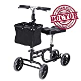 Koval Inc. Steerable Knee Scooter, Adult Walker w/ Wheels and Basket (Black)