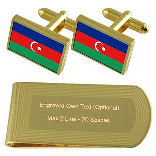 Flag Azerbaijan Gift Gold Engraved Cufflinks Clip Money tone Set Pqvgwdxrqn